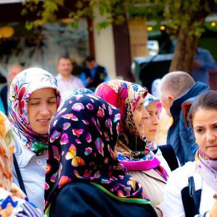 Women waiting in front of Mosque