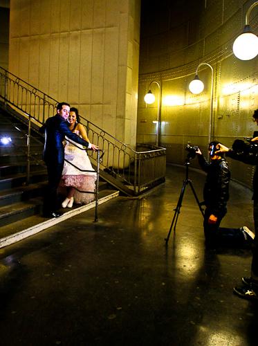 photos de mariage dans la station du métro